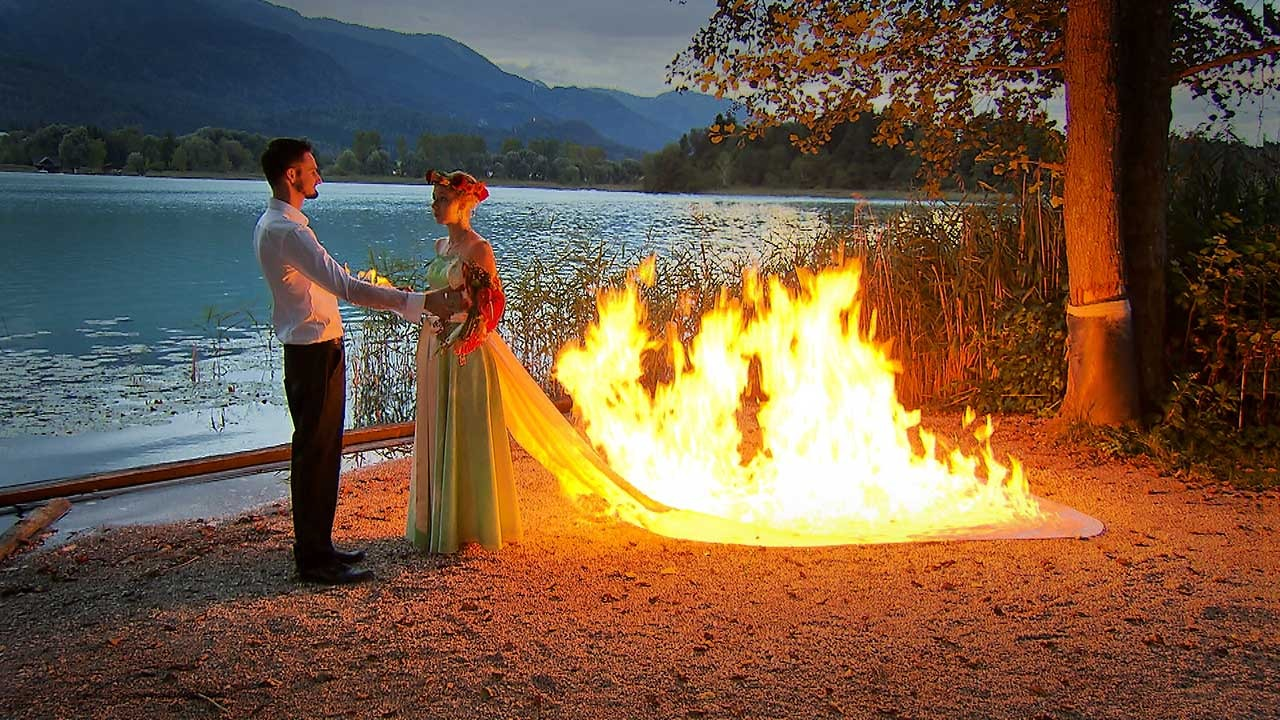 When the bride goes up in flames ...